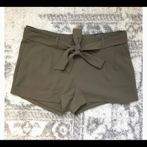 Express | Olive Green Pleated Dress Shorts Color